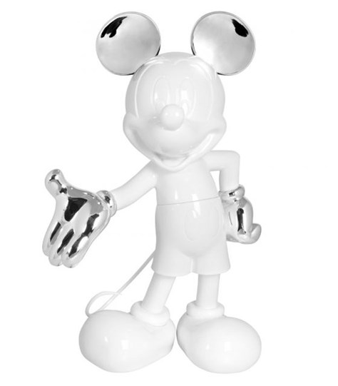 Mickey Welcome Glossy White & Chromed Silver by Leblon Delienne - Limited Edition Sculpture